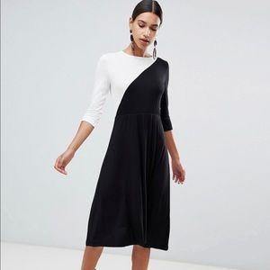 Boohoo Color Block Midi Dress